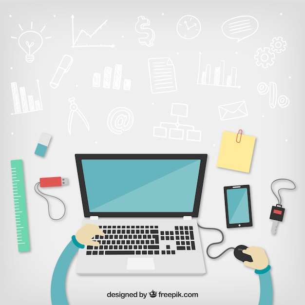 Workspace with business doodles Free Vector