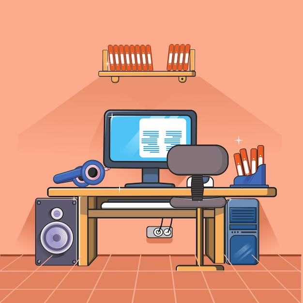 Workspace with office elements Premium Vector