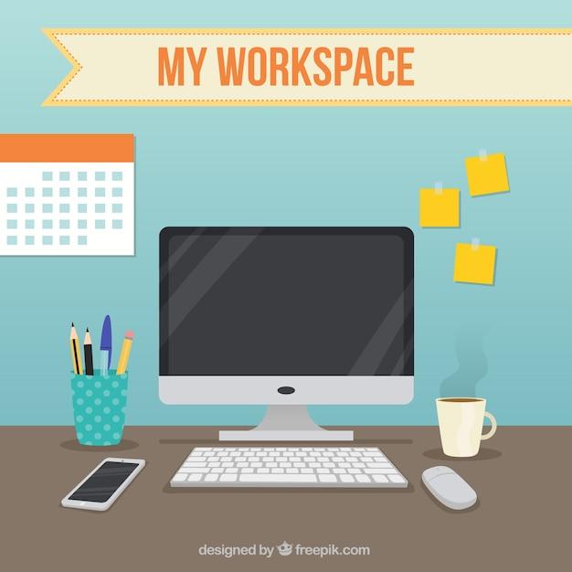 사무실 요소가있는 작업 공간 프리미엄 벡터