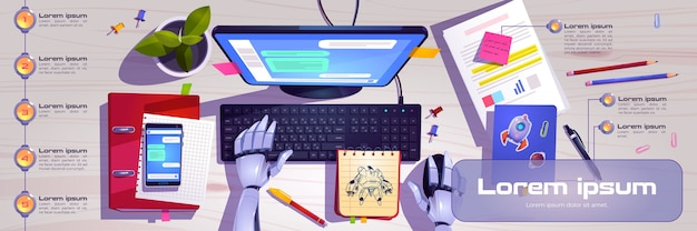 Workspace with robot hands working on computer keyboard Free Vector