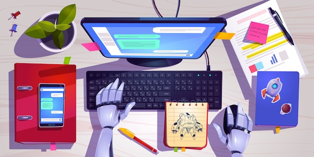 Workspace with robot working on computer keyboard top view. Free Vector