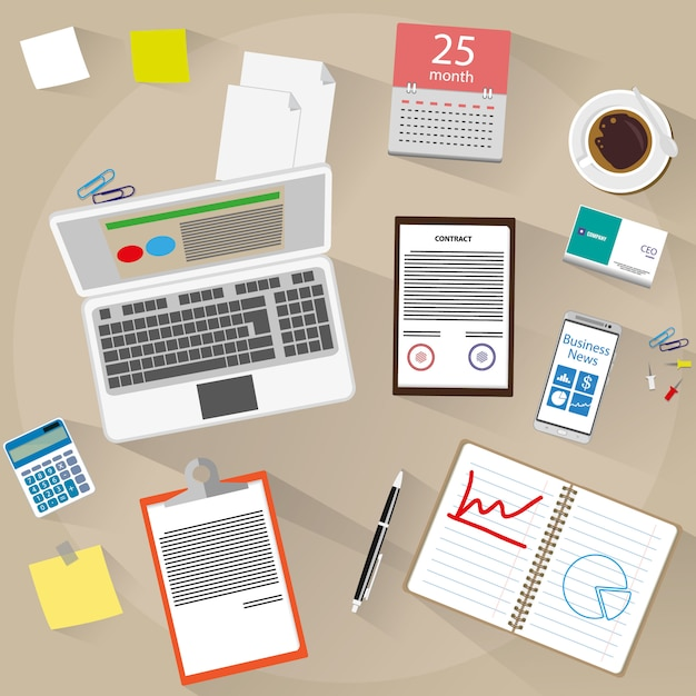 Workspace with several office supplies Premium Vector