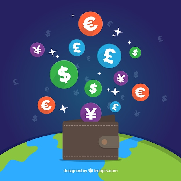 Worl currency icons Free Vector