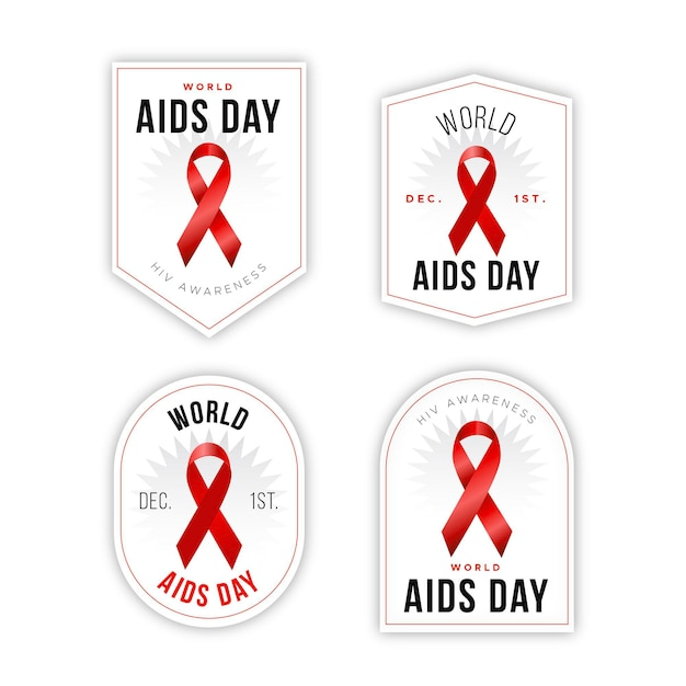 World aids day badge collection Free Vector
