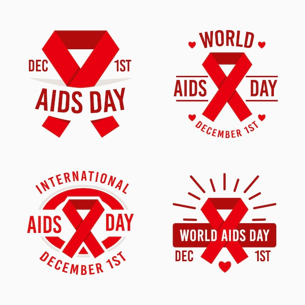 World aids day badges collection with red ribbons Free Vector