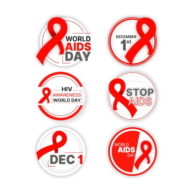 World aids day badges collection Free Vector