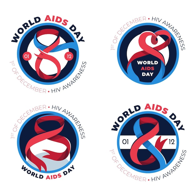 세계 에이즈의 날 배지 컬렉션 무료 벡터