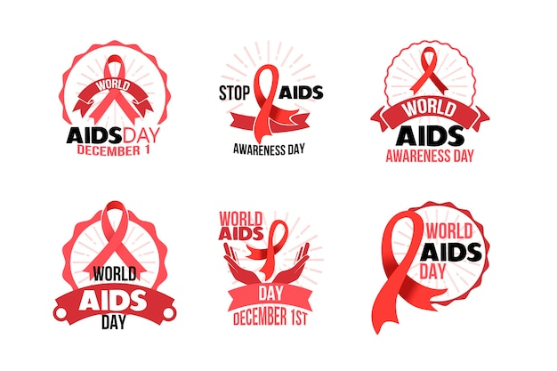 World aids day badges concept Free Vector
