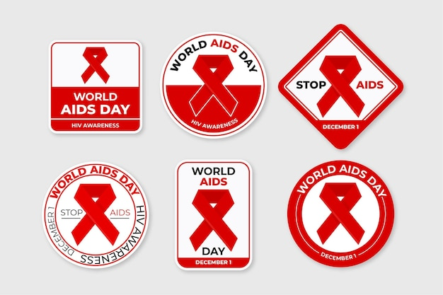 World aids day badges set with red ribbons Free Vector