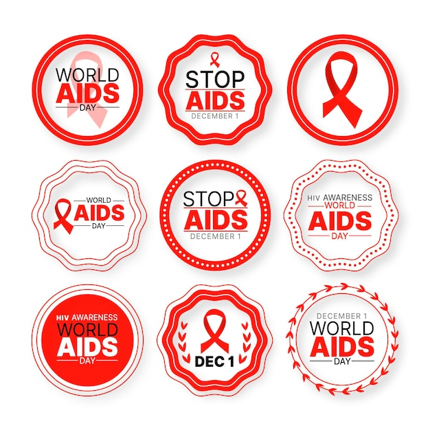 World aids day badges Premium Vector