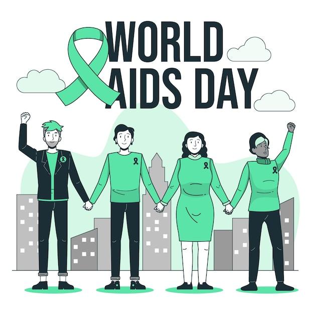 세계 에이즈의 날 개념 그림 무료 벡터