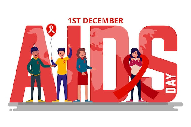 World aids day event illustration Premium Vector