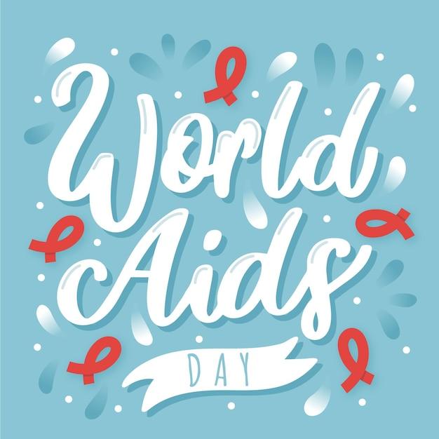 Iscrizione dell'evento della giornata mondiale contro l'aids con nastri rossi Vettore gratuito