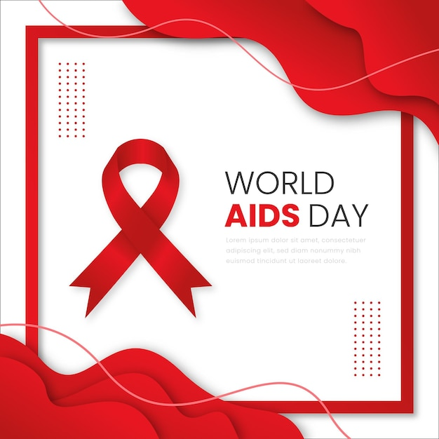 World aids day event ribbon in paper style Premium Vector