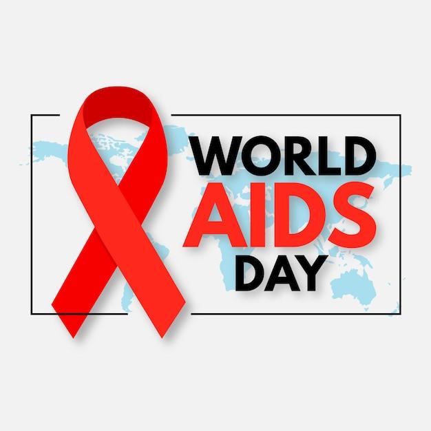 地図とリボンで世界エイズデーのイベント Premiumベクター