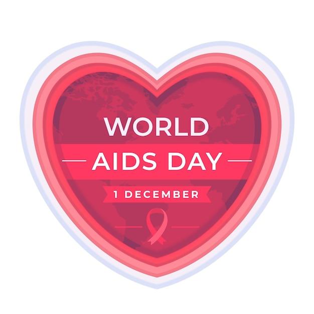 Cuore di giornata mondiale contro l'aids in stile carta Vettore gratuito