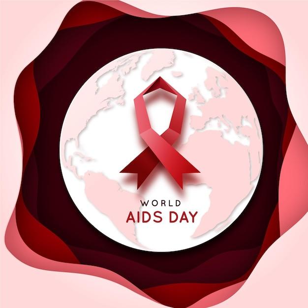 종이 스타일의 세계 에이즈의 날 무료 벡터