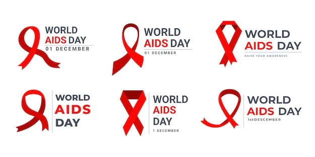 World aids day labels collection Free Vector