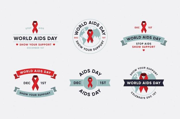 세계 에이즈의 날 라벨 컬렉션 무료 벡터