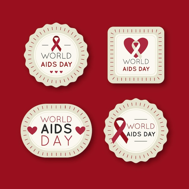 World aids day labels pack Free Vector