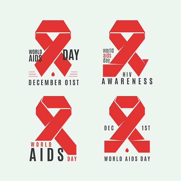 World aids day labels set with red ribbons Free Vector