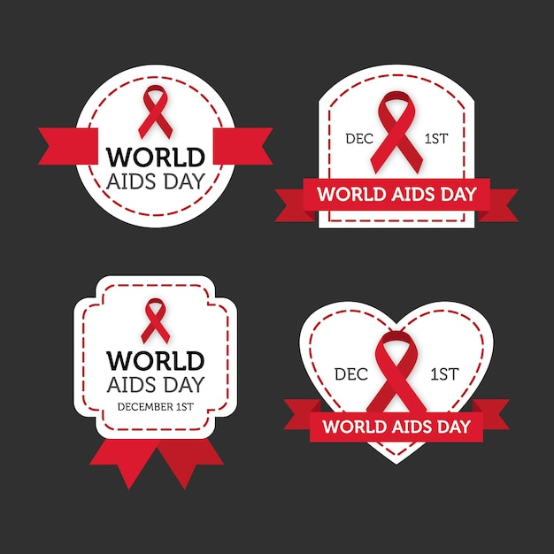 World aids day labels set Free Vector