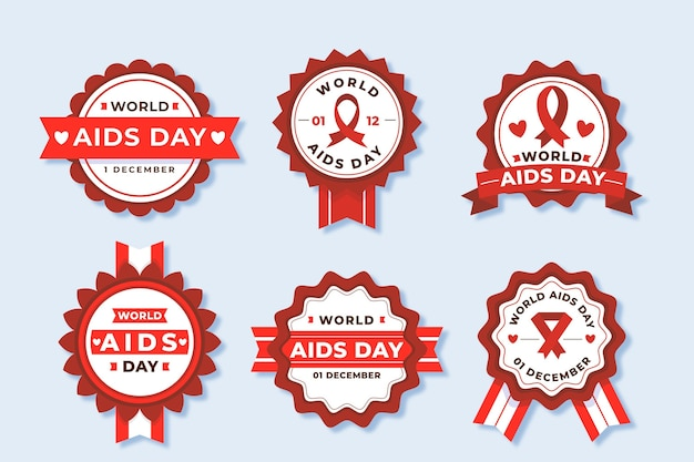 World aids day labels Free Vector
