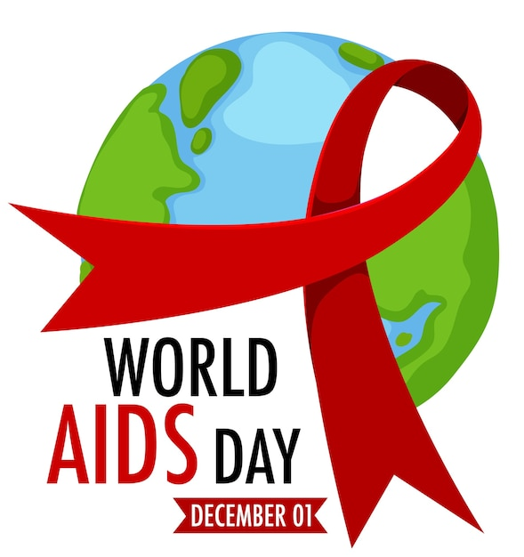 World aids day logo or banner with red ribbon on the earth Premium Vector
