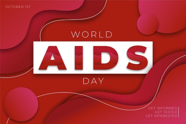 World aids day in paper style wallpaper Free Vector