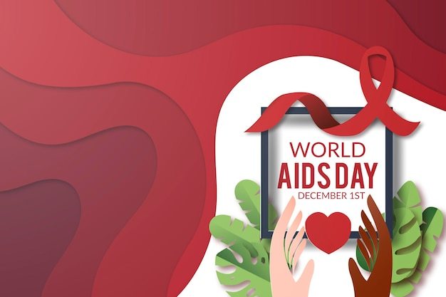 World aids day in paper style Free Vector