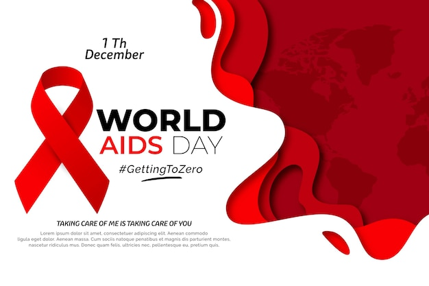 World aids day in paper style Premium Vector