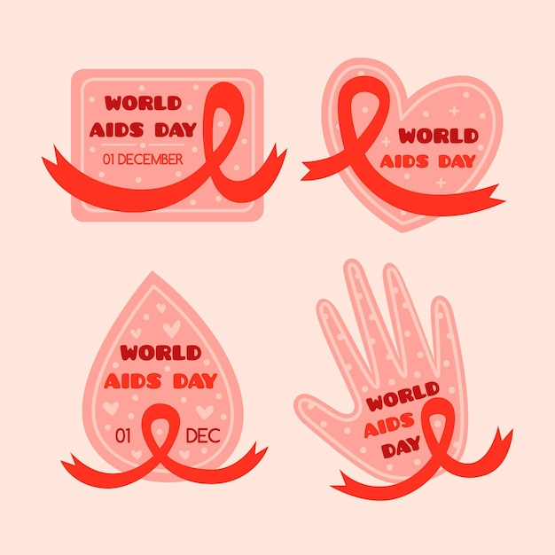 World aids day ribbons badges pack Premium Vector
