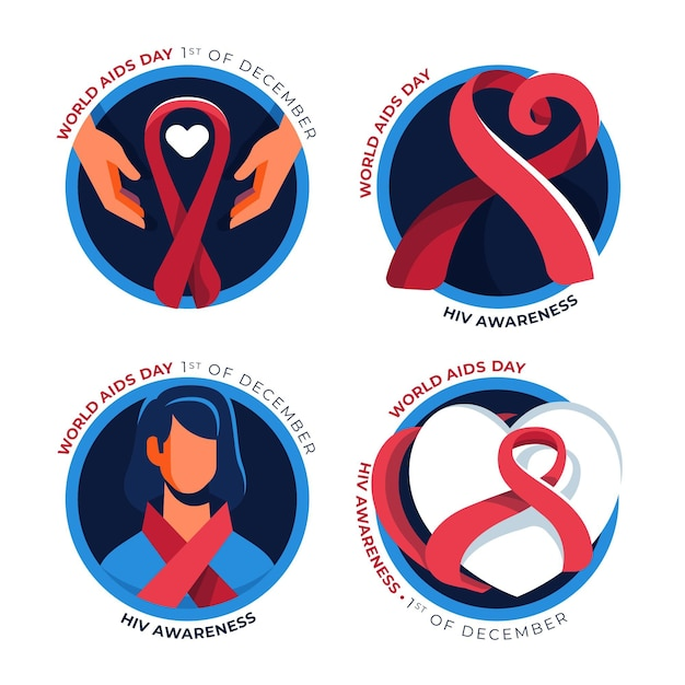World aids day ribbons badges set Free Vector
