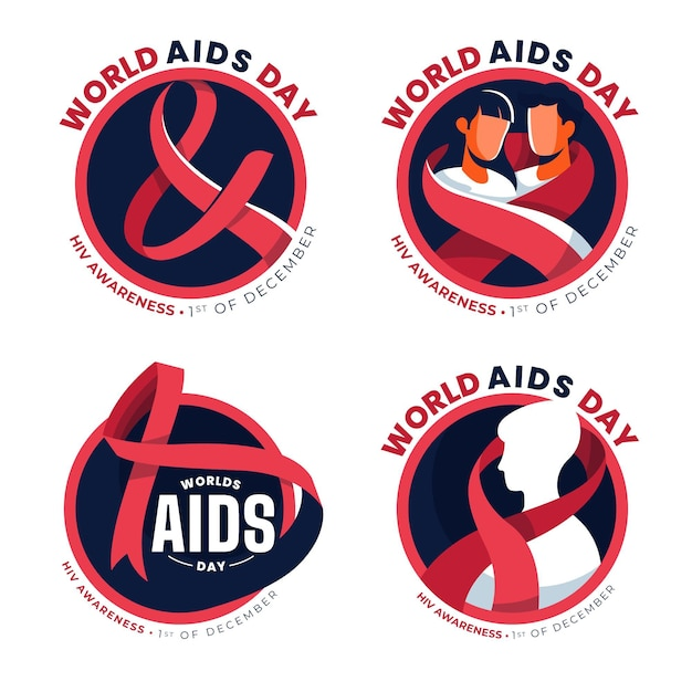 World aids day ribbons badges Premium Vector