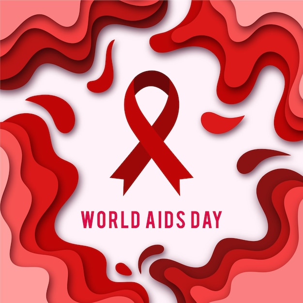 World aids day symbol in paper style Free Vector
