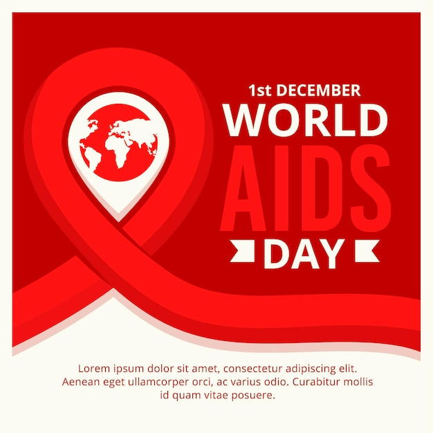 World aids day symbol with date Premium Vector