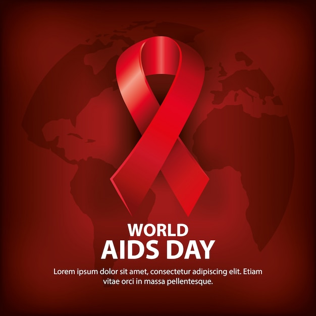 World aids day with ribbon Premium Vector
