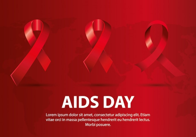 World aids day with ribbons Premium Vector