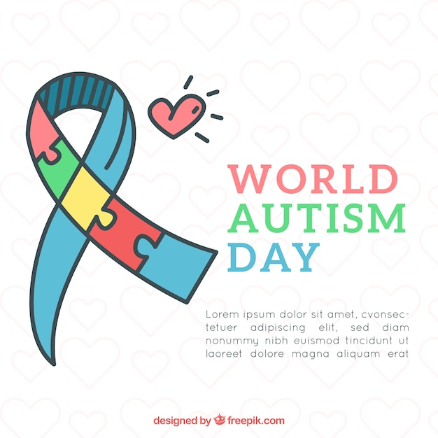 World autism day background with puzzle pieces in hand drawn style Free Vector