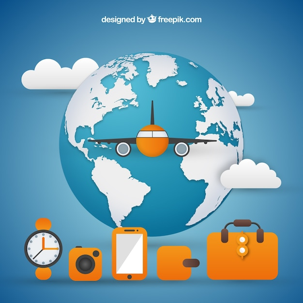 World background with airplane and travel\ elements