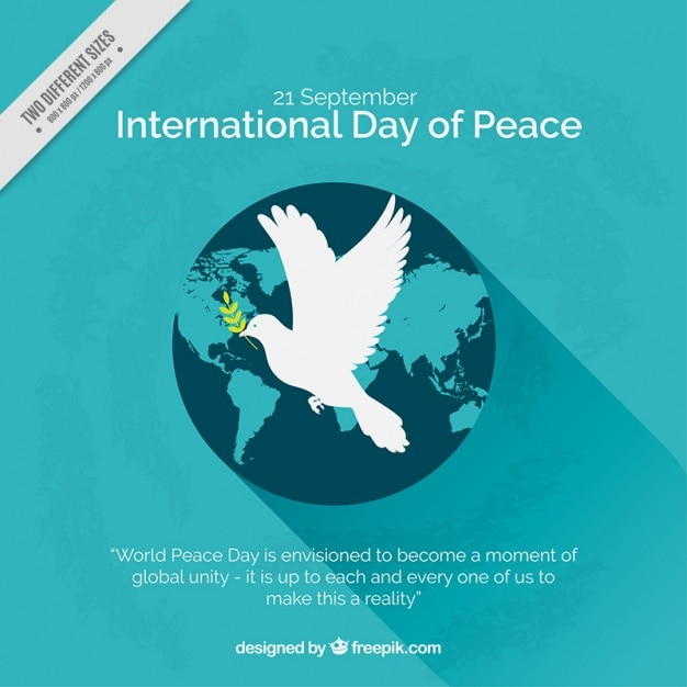 World Background With Peace Symbol Vector Free Download