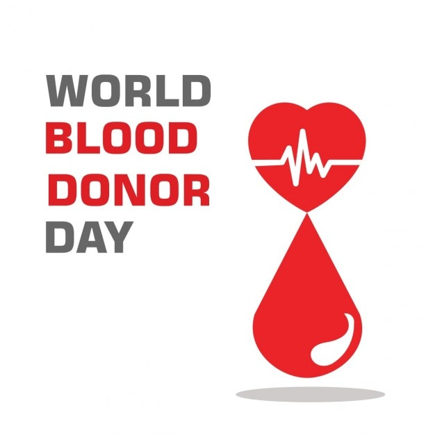 World Blood Donation Day Background With Drop And Heart Vector