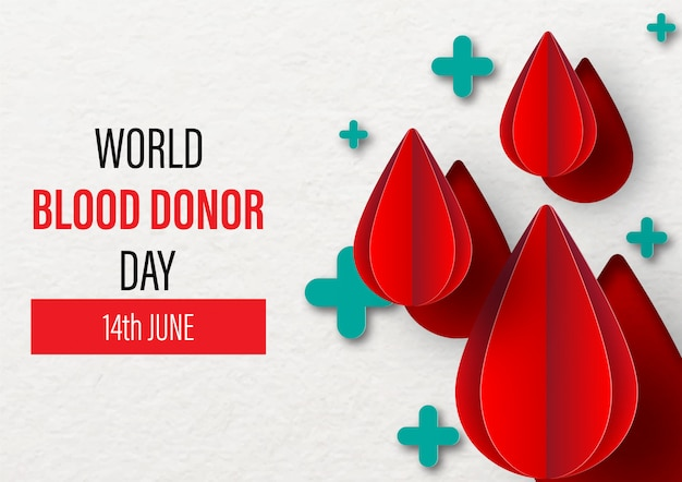 World blood donor day. 14th june. blood droplet on green plus shape Premium Vector