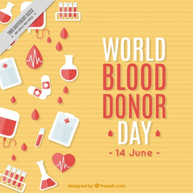 World blood donor day background with medical elements Premium Vector