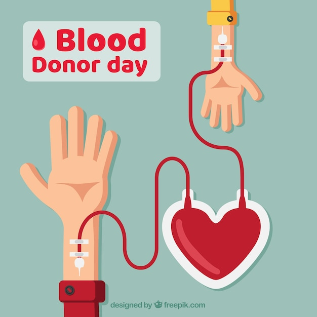 Всемирный день донора крови фон с двумя руками и сердце Бесплатные векторы