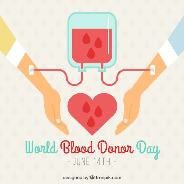 World blood donor day background with two arms and blood transfusion Premium Vector