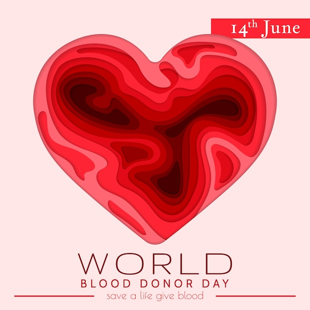 World blood donor day card. awareness vector banner with red paper cut blood heart. hemophilia day paper craft poster. Premium Vector