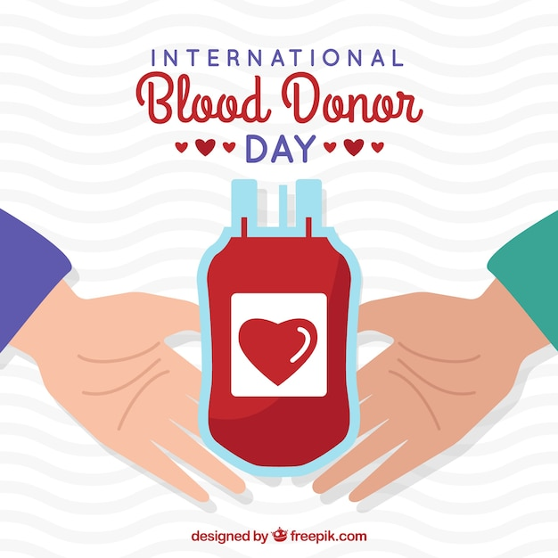 World blood donor day illustration with hands Premium Vector