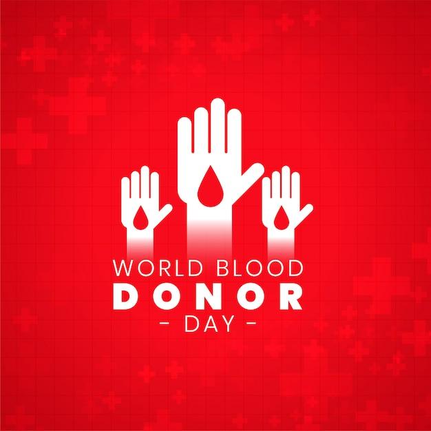 ボランティアの手で世界献血者デーのポスター 無料ベクター