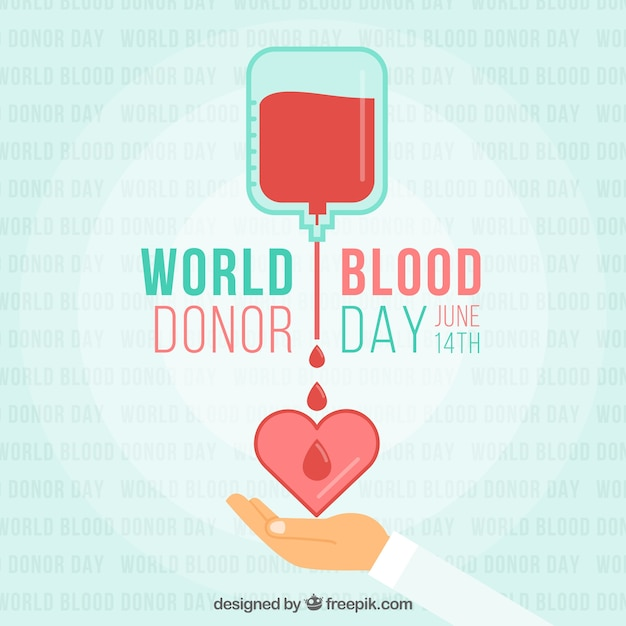 World blood donor day with heart illustration Premium Vector